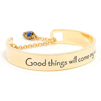 Good things will come my way evil eye lariat cuff bracelet
