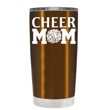 Cheer Mom Pom Pom on Copper 20 oz Tumbler Cup