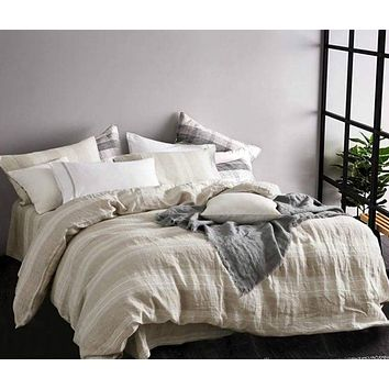 Striped Chambray Linen Bed in a Bag 5 Piece Simple Duvet Cover & Sheet Set in 15 Patterns