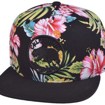 N21CRE23-2T- 2 Tone Structured Cotton Hawaiian Floral Fabric Printed Logo Designed Snapback