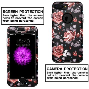 XIQI iPhone 7 Plus Case, iPhone 8 Plus Case Flower Three Layer Heavy Duty Shockproof Cute Girls Woman Anti-Scratch Protective Case Cover for iPhone 7 Plus 5.5 inch,Black Roses
