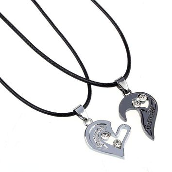 Mens Leather Rope Chain Black Heart Love Necklace for Couples Korean Ladies Fashion Trendy Paired Suspension Pendants Necklaces