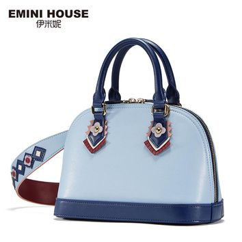 EMINI HOUSE Indian Style Shell Bag Split Leather Shoulder Bag Crossbody Bags For Women Luxury Handbags Women Bags Designer