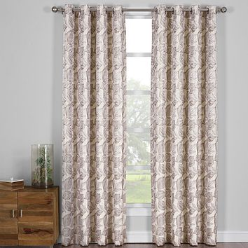 Olive 108x84 Catalina Jacquard Grommet Curtain Panels (Set of 2)