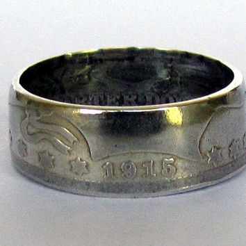 1915 Barber Quarter Coin Ring 90% Silver