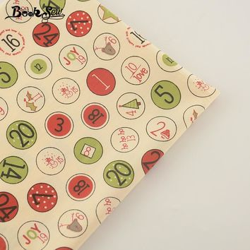 Booksew 2017 100% Cotton Fabric Twill Fat Quarter Number Design Home Textile Material Bedding Clothing Baby Quilting Sewing