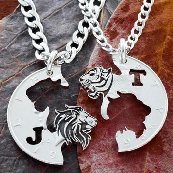 Tiger and Lion Couples Jewelry, Custom Initials, BFF or Couples, Tigress Jewelry, Best Friends Gift, hand cut coin