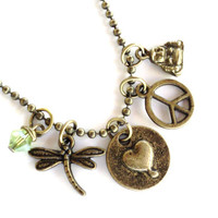 Peace Love Necklace Dragonfly Bohemian Yoga Jewelry Meditation Unique Gift For Her Christmas Stocking Stuffer Under 50 Item T49