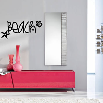 Beach with Hibuscus and Starfish Vinyl Wall Words Decal Sticker Graphic