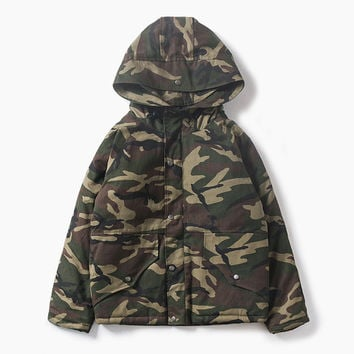 Zippers Hats Cotton Winter Camouflage Couple Jacket [9391649095]