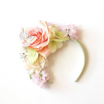 winter rose butterfly flower crown headband - wedding headpiece, garden party, spring racing carnival hair accessory, fashion, lana del rey.