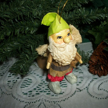 Santa Claus Christmas Tree Ornament Vintage Paper Mache Whimsical Elf Gnome Woodsman Troll