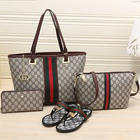 GUCCI 2018 Women's High Quality Exquisite Four-piece Tote/Shoe F-KSPJ-BBDL coffee