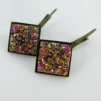 Metallic Gold and Pink Geometric Square Faux Druzy Stone Lever-back Drop Earrings