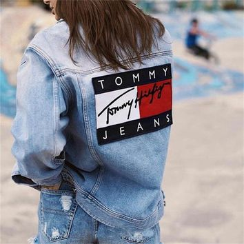 Tommy Hilfiger Women Denim Cowboy Blue Cardigan Jacket Coat