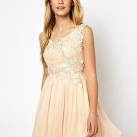 Opulence England Prom Dress With Lace Trim - Peach