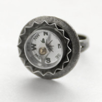 Silver Compass Ring, Working Compass Ring, Steampunk Jewelry, Unisex Techie Gift, Industrial Gadget Geekery