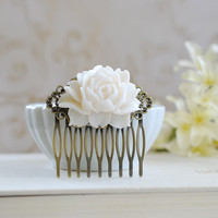 Bridal Hair Comb. White Ivory Rose Flower Hair Comb. Vintage Inspired Antique Brass Art Nouveau Filigree Hair Comb. Bridal Wedding Comb