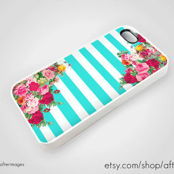 Floral Nautical Stripes iPhone 5 4 4S Case iPhone 4 Cute Kawaii Teal Rose Pastel Vintage Grunge Silicone