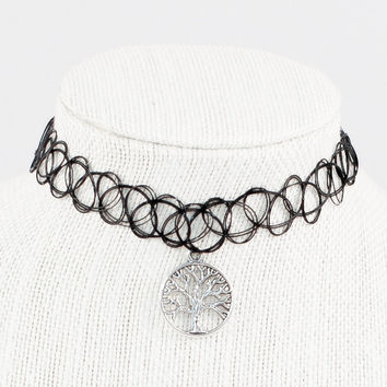 Tattoo Choker with Tree