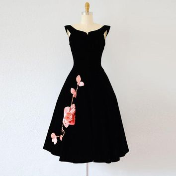 Dresstells Vintage Black Scoop Sleeveless  Floral Print A-line Cocktail Dress Homecoming Dress Party Dress Vestidos
