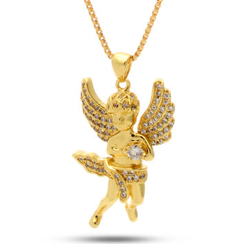 King Ice 14K Gold CZ Mini Angel Necklace
