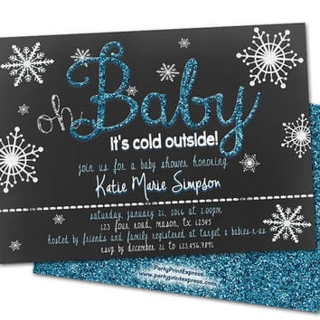 January Winter Baby Shower Invitations - Blue Boys Baby Shower Invites - Snowflakes Oh Baby Shower - Its a Boy - Its Cold Outside - snow