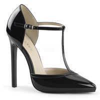 """Sexy 27 Black Patent T Strap d'Orsay 5"""" Heel Pointed Toe Sandal"""
