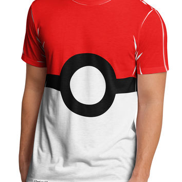 Sporty Red and White Circle Men's Sub Tee Dual Sided All Over Print