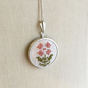 Cross Stitch Rose Necklace Vintage Inspired Jewelry Embroidered Flower Pin or Pendant Pink Rose Jewelry