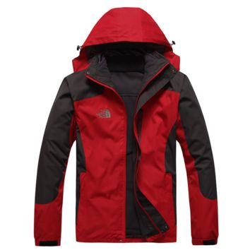 The north face winter men and women two sets of removable waterproof windproof plus cashmere Red + black