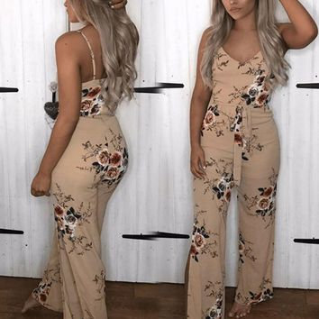 Fashion Plus Size Womens Clothing Jumpsuit Sleeveless Backless Floral Print Sexy Rompers