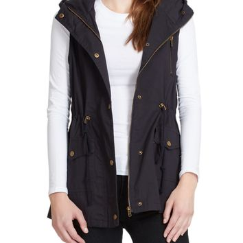 LE3NO Womens Zip Up Anorak Military Cargo Vest with Hoodie