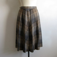 Vintage 1970s Glen Check Skirt 70s Brown Plaid Pleated Wool Blend Skirt Medium-Large