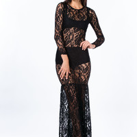 Floral Lace Mermaid Maxi Dress