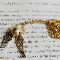 All Gold Golden Snitch Long Necklace, Harry Potter Golden Snitch Necklace, Harry Potter Jewelry, Harry Potter Gift