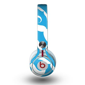 The White Mustaches with blue background Skin for the Beats by Dre Mixr Headphones