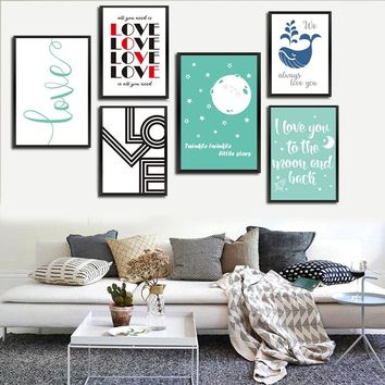 Nordic I Love You To Moon And Back Star Canvas Painting A4 Prints And Posters Wall Pictures For Living Room Wall Art Home Decor