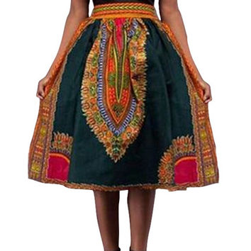 African Wax Dashiki Maxi Skirt
