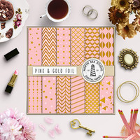 Pink Gold Foil Digital Paper Girly Pink Scrapbook Paper Glamour Backgrounds Lovely Paper Gold Foil Stars Chevron Polkadot Digital Download
