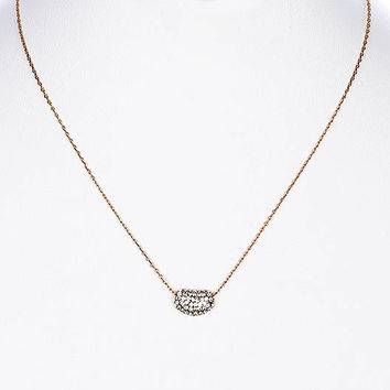 NECKLACE / CRYSTAL STONE PAVED / LINK / METAL / 1/4 INCH DROP / 16 INCH LONG / NICKEL AND LEAD COMPLIANT