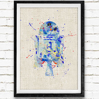 Star Wars R2D2 Watercolor Art Print, Minimalist Art Print, Watercolor Poster, Watercolor Print, Home Decor, Not Framed, Buy 2 Get 1 Free!