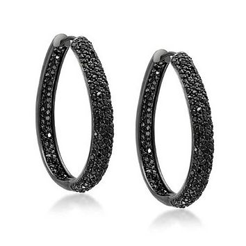 Black Pave CZ Oval Shaped Inside Out Hoops Earrings Prom Silver Plated