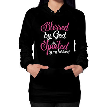 BLESSED BY GOD Hoodie (on woman)