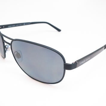 Giorgio Armani AR 6036 3136/81 Black Rubber Polarized Sunglasses