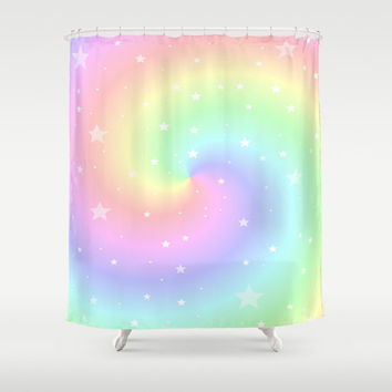 Rainbow Shower Curtain, Colorful Bathroom, Modern Home Decor, Stars, Spiral, Dreamy, Pastel Colors Shower Curtain, Lilac, Pink, Teal,Yellow