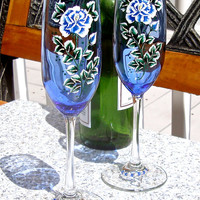 Hand Painted Blue Champagne Glasses With Wine Glass Charms, Hand Painted Glasses, Painted Wedding Glasses, September Birthday Gift