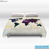Bohemian Duvet Cover, boho world map, decorative Bedding, Home Interior Decoration