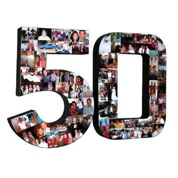 3D 50th Birthday Anniversary Number Photo Collage Two Digit Party Senior Night Jersey