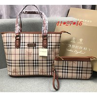 Burberry Women Leather Shoulder Bag Satchel Tote Handbag Set Two Piece